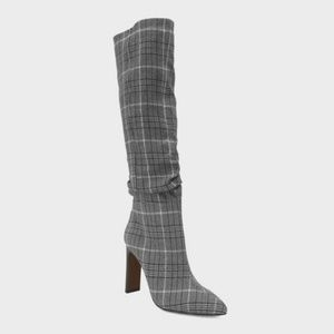 Who What Wear Plaid Slouch Tall Fashion Boots